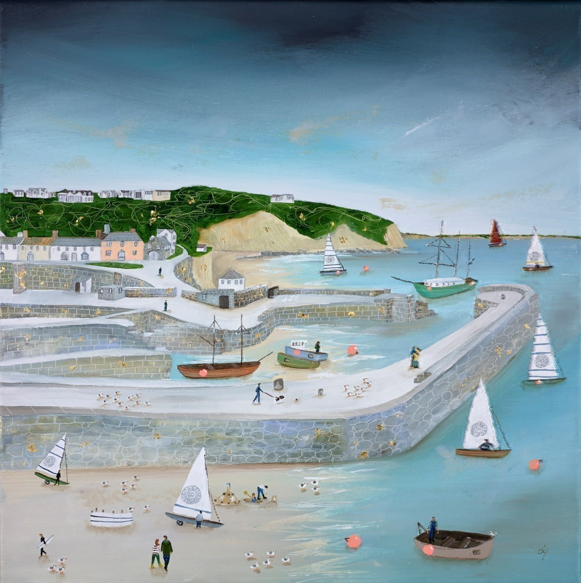 Seagulls 'n' Sails by Lucy Young -  sized 24x24 inches. Available from Whitewall Galleries
